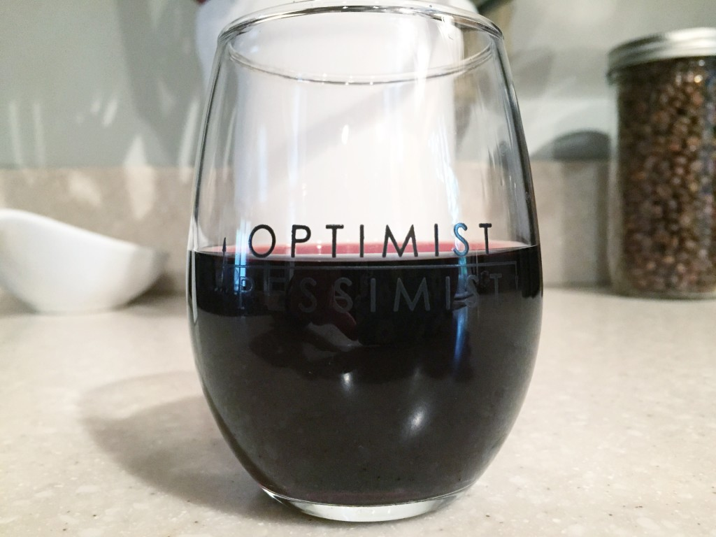 Optimist Pessimist Stemless Wine Glass