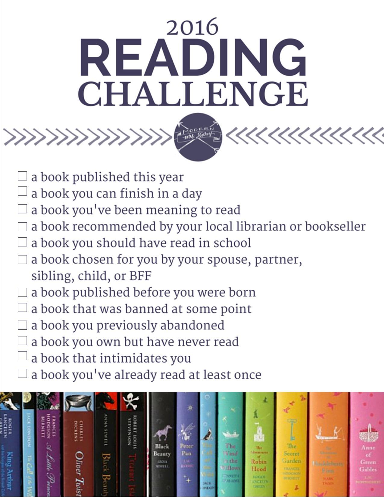 Modern Mrs. Darcy 2016 Reading Challenge
