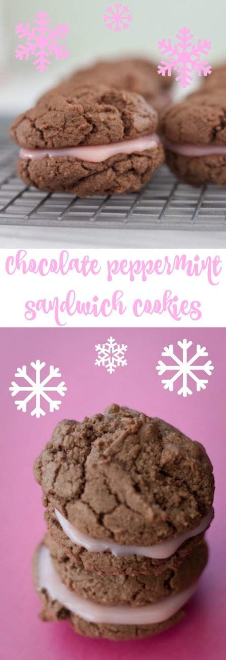Peppermint and chocolate lovers rejoice! Your favorite flavors come together in this easy chocolate peppermint sandwich cookie recipe.  Christmas cookies | Cookie Exchange | Christmas Desserts